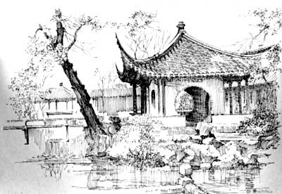 苏州园林走廊手绘