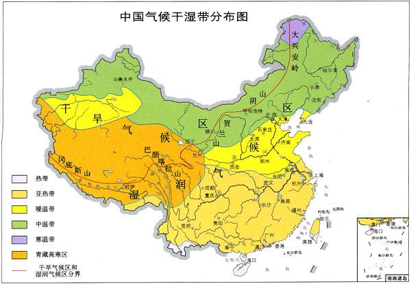中国气候干湿带分布图 -地理博物馆