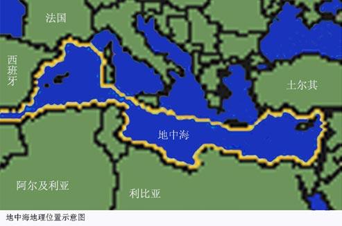意大利半岛,西西里岛,突尼斯和它们之间的水下海岭,把地中海分成东西