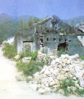 地震后废墟手绘图